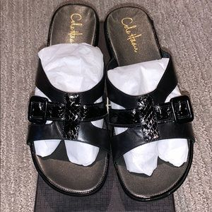 Cole Haan and Nike air black wedge sandals
